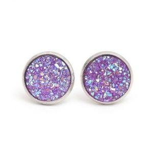 NWT 925 Sterling Silver Lavender Druzy Earrings